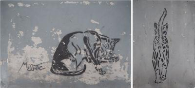 MISS-TIC - Fifi the Cat, 2006 - spray paint on two reclaimed wood panels