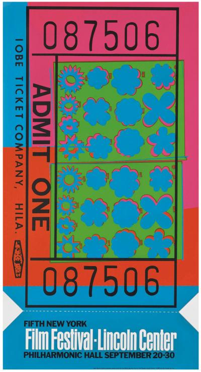 Andy WARHOL - Lincoln Center Ticket ,1967 - Sérigraphie en couleurs