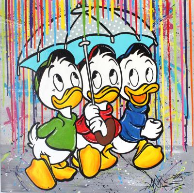 Nacks  - Huey, Dewey and Louie, colour rain, 2020 - Mixed media on canvas