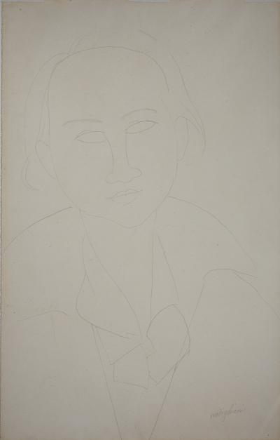 Amedeo MODIGLIANI - Portrait of Elena, c. 1917 - Original drawing, Signed with certificate