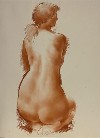 Antoniucci VOLTI - Naked back sitting - Signed drawing