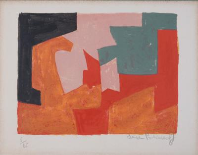 Serge POLIAKOFF - Composition orange, 1959 - Original hand signed lithograph