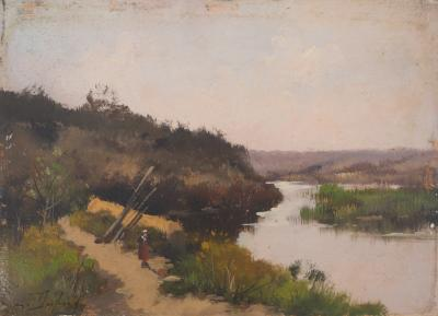 Eugène GALIEN-LALOUE: Farmer by the river - Oil on panel Signed