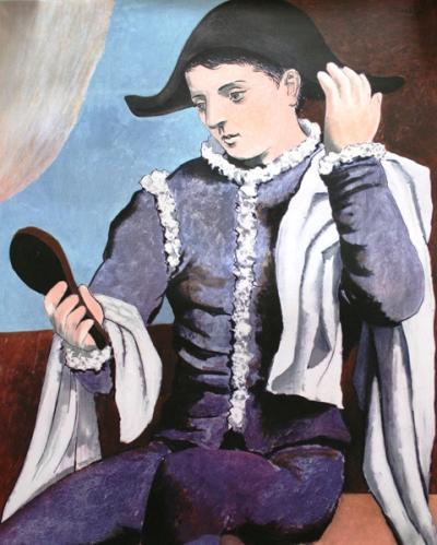 "PORTRAIT OF A HARLEQUIN Artwork Reproduction 14/"" x 11/"" PICASSO PABLO 490"