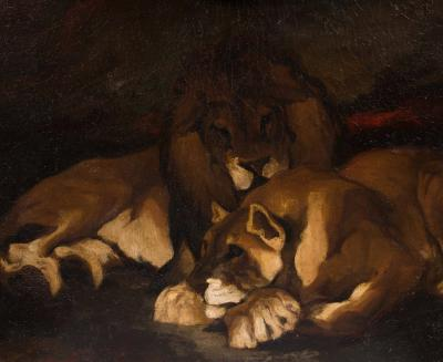 Théodore GERICAULT - Couple of lions circa 1820