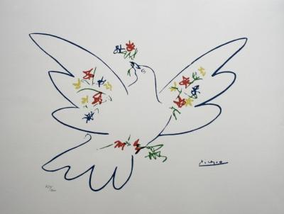 Pablo PICASSO (after) - Lithograph titled the blue dove